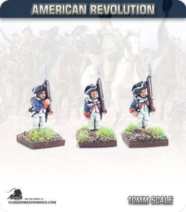 10mm American Revolution: Continentals in 1779 Regulation Uniform - Standing (painted by Andy Mac)