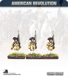 10mm American Revolution: Continentals in 1779 Regulation Uniform (Hunting Shirts) - Marching (painted by Andy Mac)