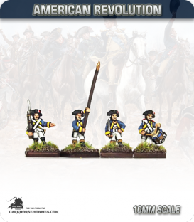 10mm American Revolution: French Line Command - Marching (painted by Andy Mac)