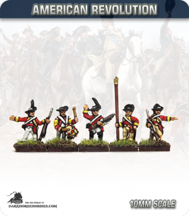 10mm American Revolution: British Cutdown Coats in Round Hats Command - Standing (painted by Andy Mac)