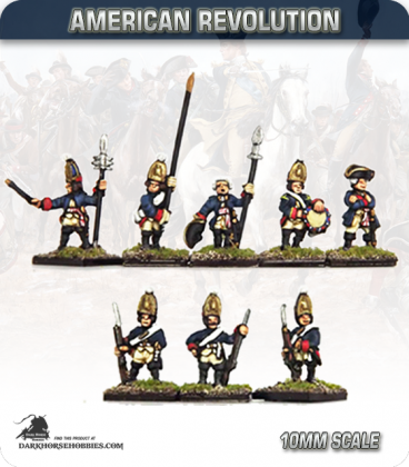 10mm American Revolution: Hessian Grenadiers with Command (Regiment von Rall) (painted by Andy Mac)