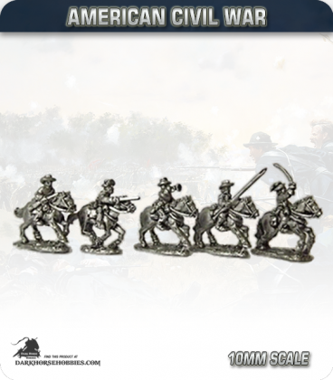 10mm American Civil War: Confederate Cavalry with Command