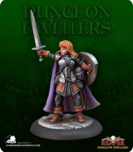 Dungeon Dwellers: Caerindra Thistlemoor, Female Warrior (painted by Rhonda Bender)