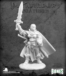 Pathfinder Bones Miniatures: Seelah, Iconic Female Human Paladin