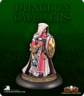 Dungeon Dwellers: Ailene, Female Cleric (painted by David Diamondstone)