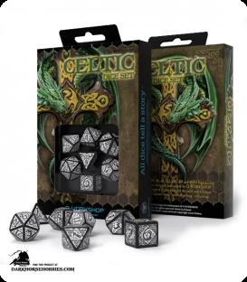 Celtic 3D Revised Black-White Polyhedral Dice Set