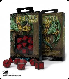 Celtic 3D Revised Black-Red Polyhedral Dice Set
