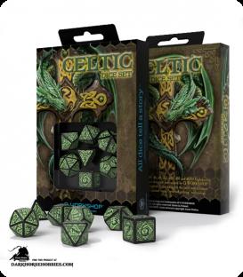 Celtic 3D Revised Black-Green Polyhedral Dice Set