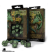 Celtic 3D Revised Black-Green Polyhedral Dice Set