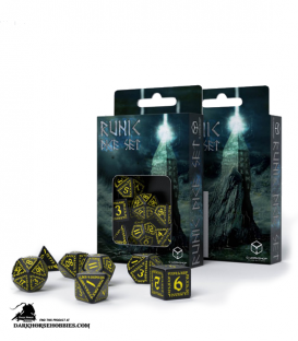 Runic Black-Yellow Polyhedral Dice Set