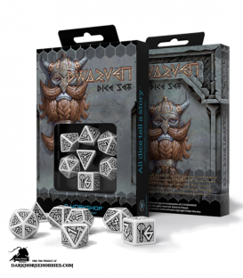 Dwarven White-Black Polyhedral Dice Set