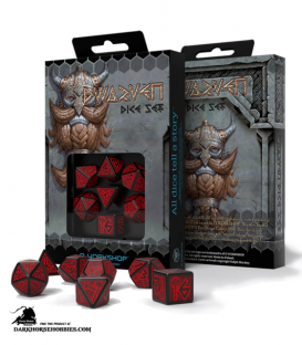 Dwarven Black-Red Polyhedral Dice Set