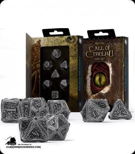 Call of Cthulu Metal-Black Polyhedral Dice Set