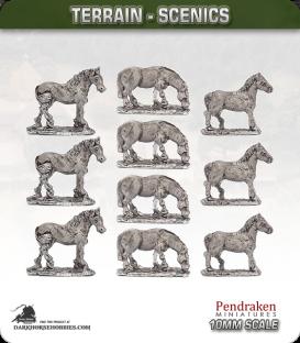 Terrain Scenics (10mm): Bare Horses Pack