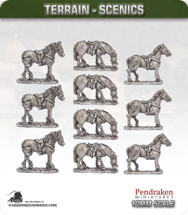 Terrain Scenics (10mm): Saddled Horses Pack