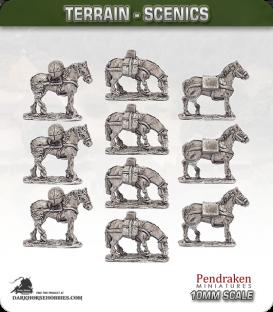 Terrain Scenics (10mm): Baggage Horses Pack