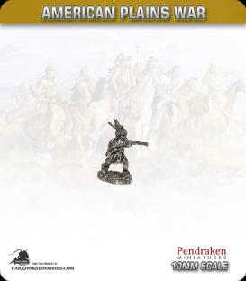 10mm Plains War: Indian Brave on Foot Firing Rifle