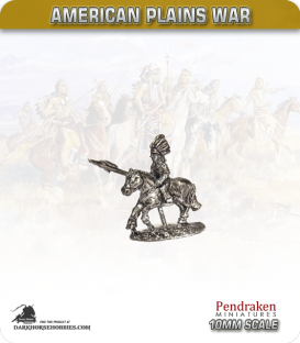 10mm Plains War: Indian Brave Mounted with Spear Lowered