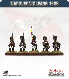 10mm Napoleonic Wars (1809): German Grenadier (with command) - March Attack