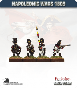 10mm Napoleonic Wars (1809): German Grenadier (with command) - Firing