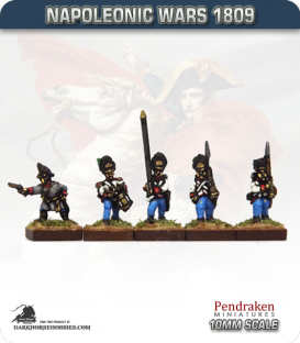10mm Napoleonic Wars (1809): Hungarian Grenadier (with command) - March Attack
