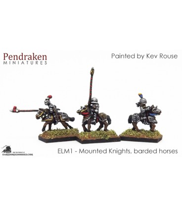 10mm European Late Medieval: Mounted Knights on Barded Horses