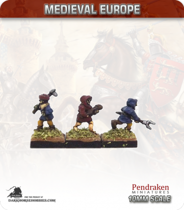 10mm European Late Medieval: Peasants with Mixed Weapons