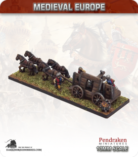 10mm European Late Medieval: Hussite Artillery Wagon (medium gun / crew)