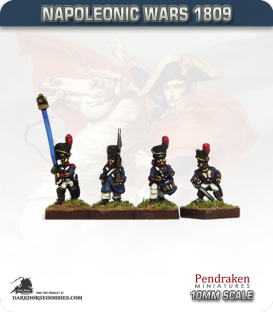 10mm Napoleonic Wars (1809): French Guard Grenadiers in Greatcoat (with command) - March Attack