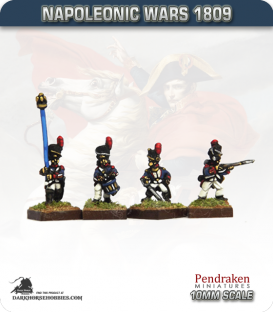 10mm Napoleonic Wars (1809): French Guard Grenadiers in Tunic (with command) - Firing