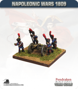 10mm Napoleonic Wars (1809): French 4pdr Guns (with guard horse crew)