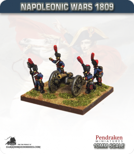 10mm Napoleonic Wars (1809): French 8pdr Guns (with guard horse crew)