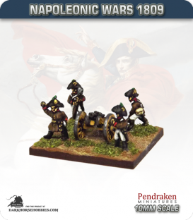 10mm Napoleonic Wars (1809): Austrian 3pdr Battalion Guns (with crew)