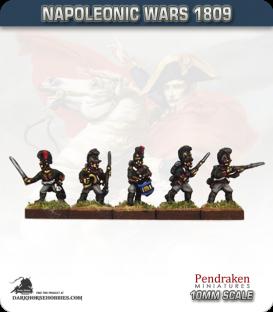 10mm Napoleonic Wars (1809): Bavarian Line / Light Elites (with command) - Firing / Advancing