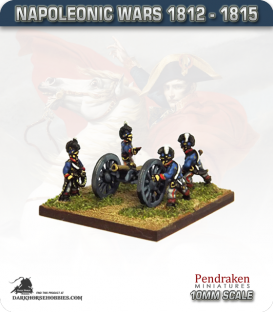 10mm Napoleonic Wars (1812-15): British 6pdr Guns (with horse crew)