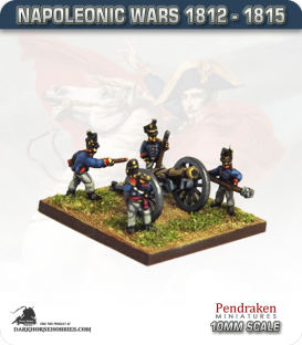 10mm Napoleonic Wars (1812-15): British 9pdr Guns (with line crew)