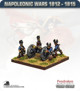 10mm Napoleonic Wars (1812-15): British 9pdr Guns (with horse crew)