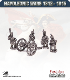 10mm Napoleonic Wars (1812-15): 6pdr Guns (with line crew)