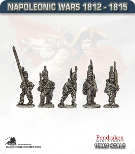 10mm Napoleonic Wars (1812-15): KGL Light Infantry (with command) - March Attack