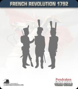 10mm Revolutionary War (1792-1797): French Grenadier/Carabinier/Guard Bearskin - March Attack