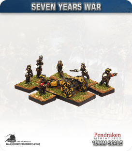 10mm Seven Years War: Austrian 7lb Howitzer with Limber, Horses and Crew