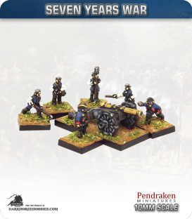 10mm Seven Years War: British 6pdr Gun with Limber, Horses and Crew