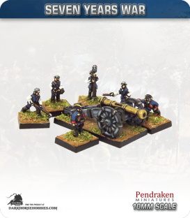 10mm Seven Years War: British 9pdr Gun with Limber, Horses and Crew