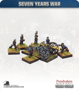 10mm Seven Years War: British 12pdr Gun with Limber, Horses and Crew