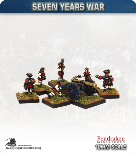 10mm Seven Years War: French 6pdr Gun with Limber, Horses and Crew