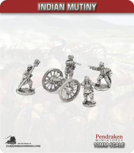 10mm Indian Mutiny: Mutineers - 6pdr Guns with Crew