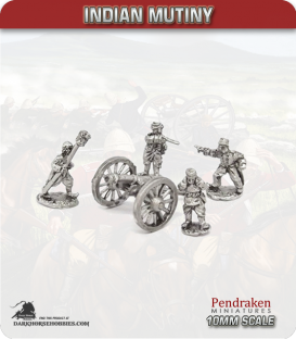 10mm Indian Mutiny: Mutineers - 9pdr Guns with Crew