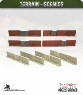 Terrain Scenics (10mm): High Brick Walls (gates)