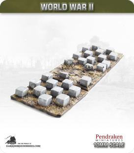 10mm World War II: German - Dragon's Teeth Tank Traps (50x50mm)