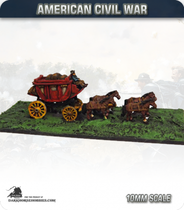 10mm American Civil War: Stagecoach with Driver